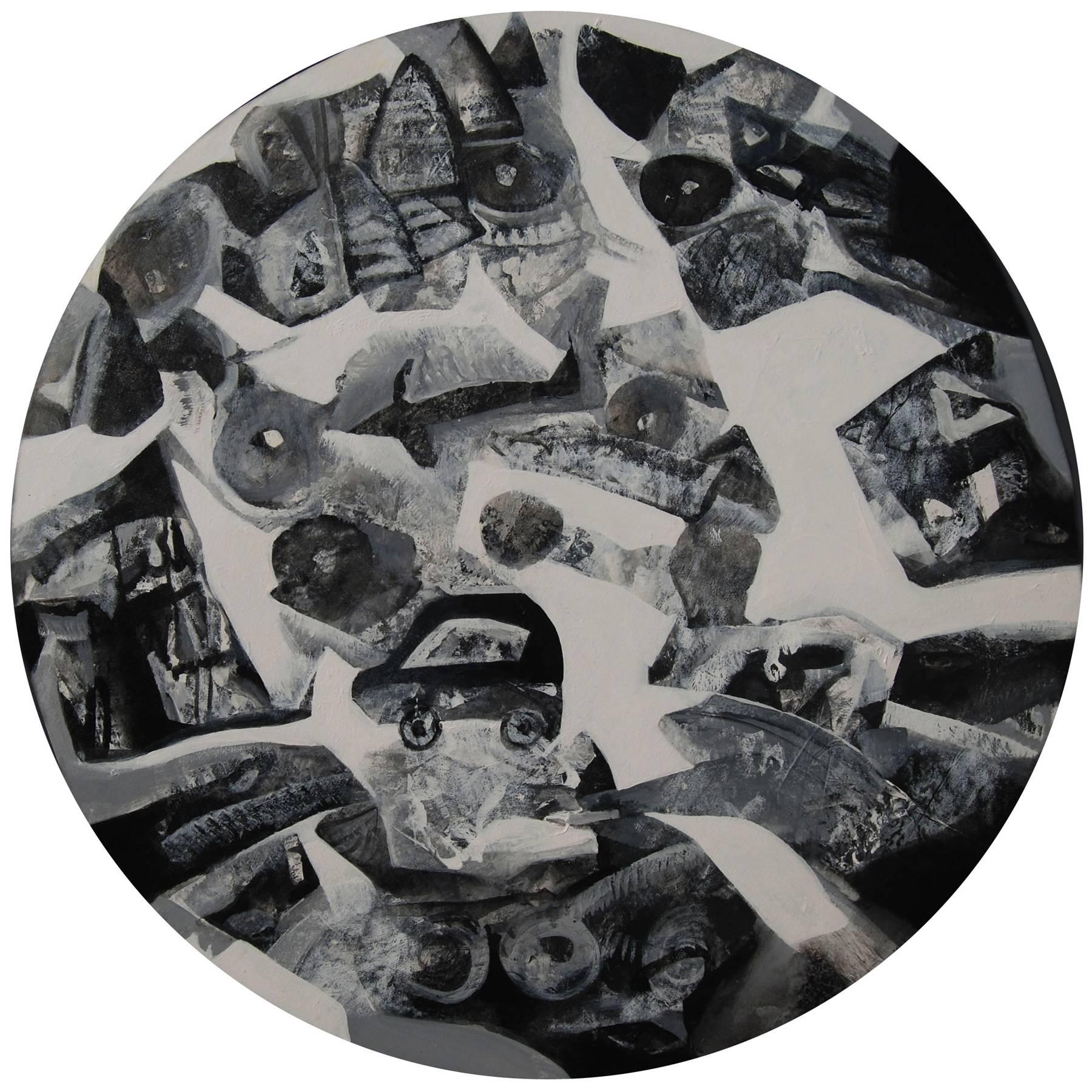 """Round, Cityscape, Black, White Acrylic, Ace Indian Contemporary Artist""""In Stock"""""""