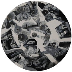 "Round, Cityscape, Black, White Acrylic, Ace Indian Contemporary Artist""In Stock"""