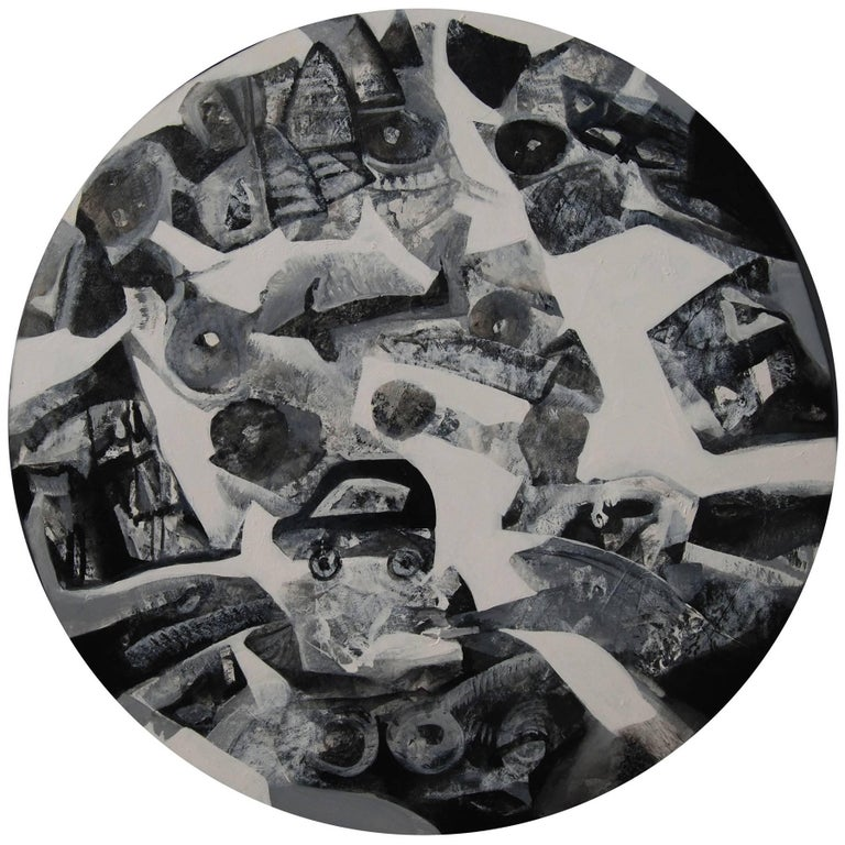 Tapas Ghosal Abstract Painting - Cityscape, in Black and White Acrylic ; by Ace Indian Contemporary Artist, Round
