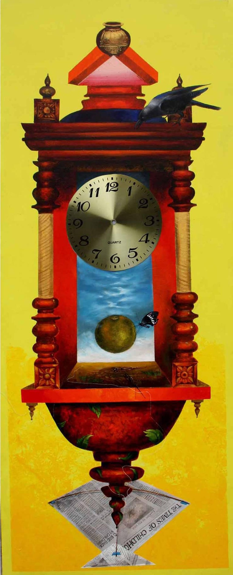 Longing Past I : Bright yellow wall clock in acrylic on canvas by Pradosh Swain
