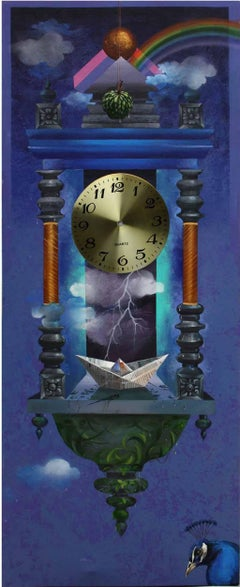 Longing Past II : Wall clock in acrylic on canvas with deep blue, metalic sheet