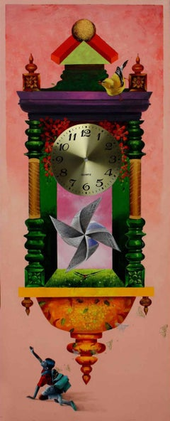 "Longing Past IV : Wall Clock, Pink, Metalic color, Acrylic Painting ""In Stock"""