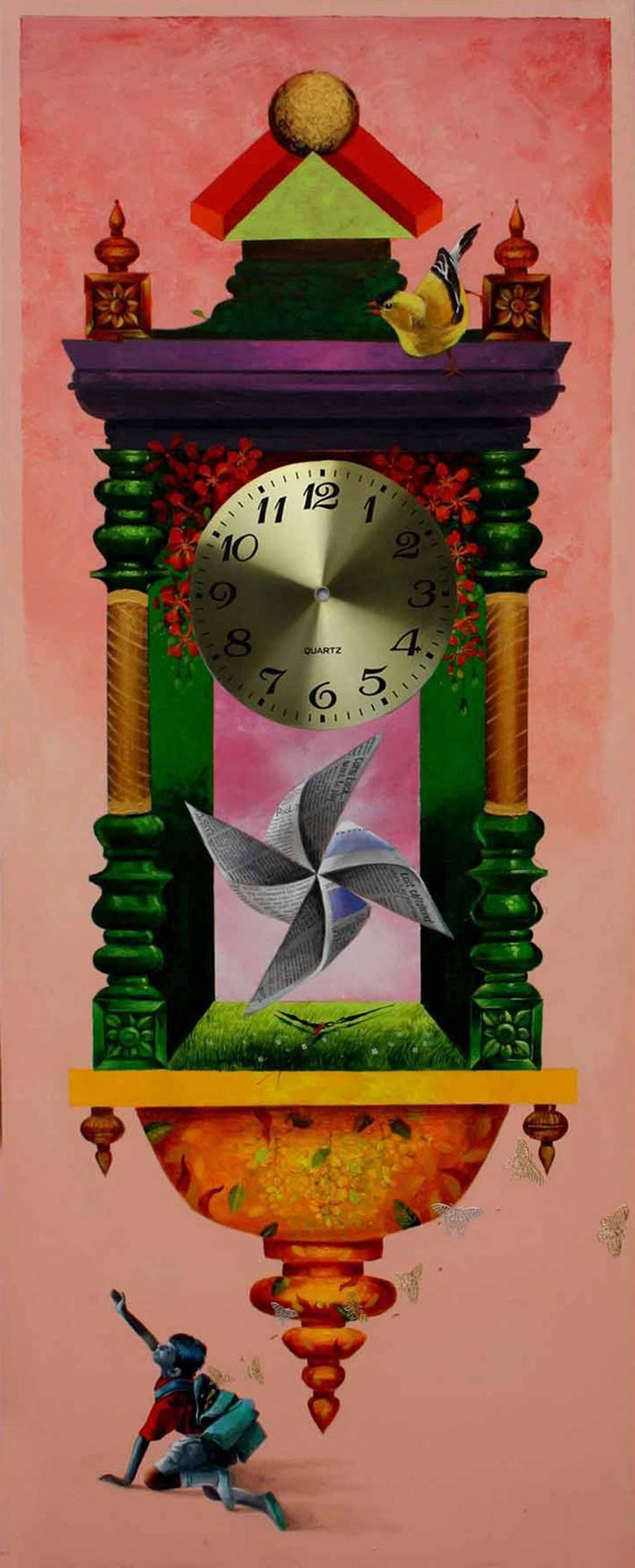 Longing Past IV : Wall clock, bright pink and metalic color in acrylic on canvas