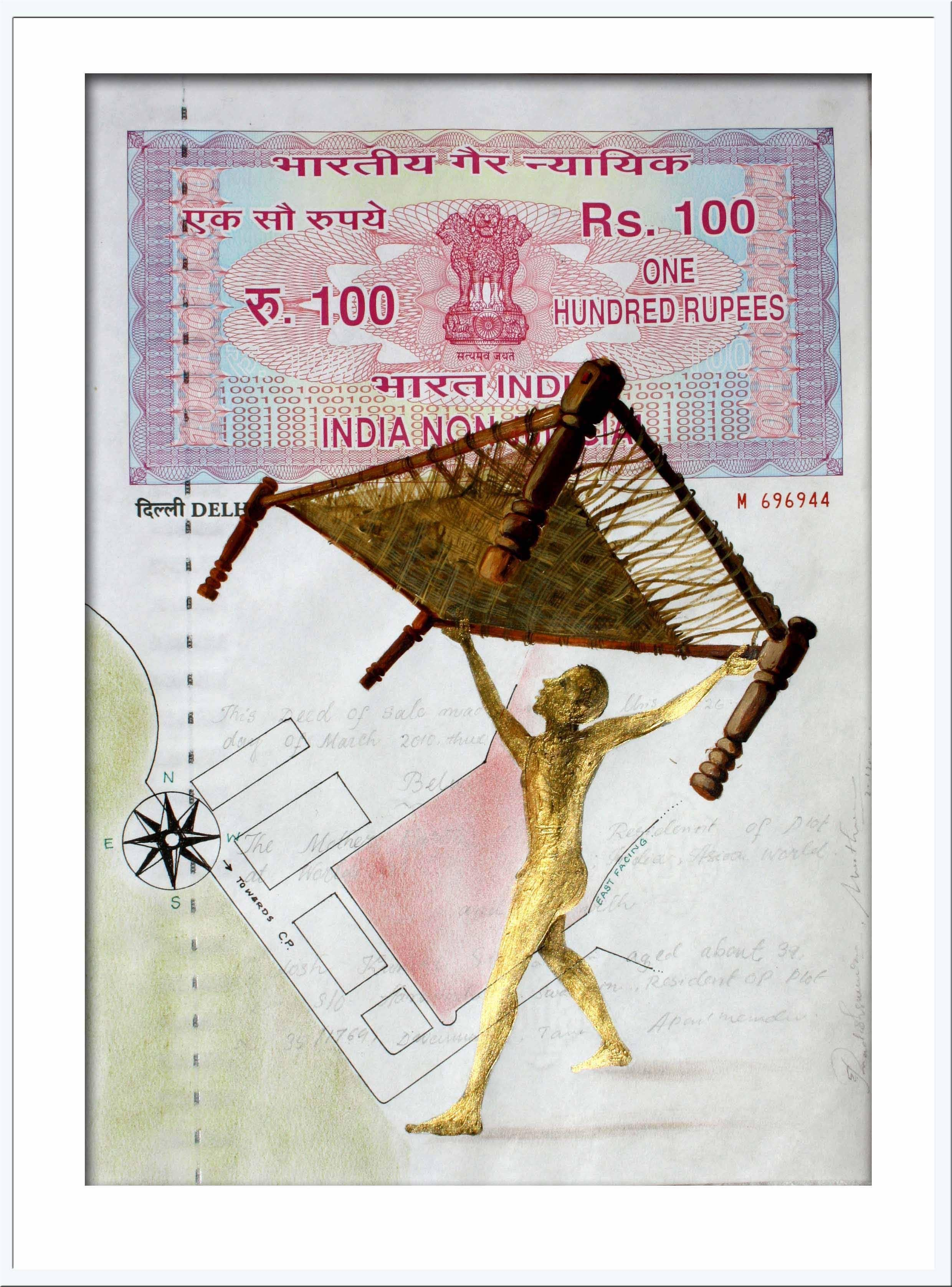 """Agreement with Mother-I: Painting, Mixed Media on INR 100 Court paper """"In Stock"""""""