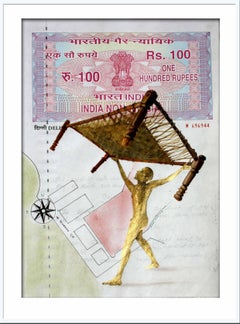 "Agreement with Mother-I: Painting, Mixed Media on INR 100 Court paper ""In Stock"""