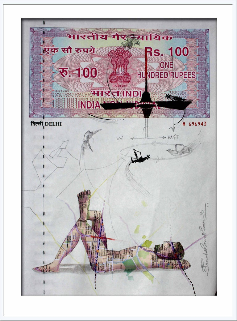"""Pradosh Swain Figurative Painting - Agreement with Mother-II: Mastery, Mixed Media on INR 100 Court Paper """"In Stock"""""""