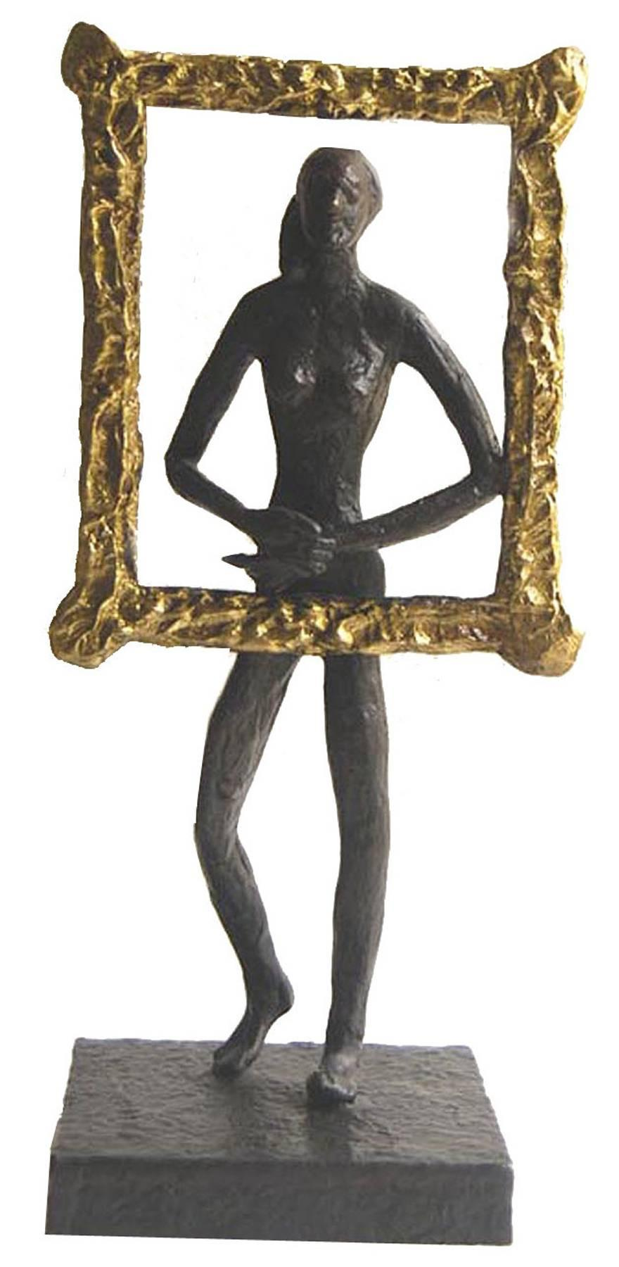 "Maiya as Monalisa, Golden Metallic frames with smile,Bronze Sculpture""In Stock"""