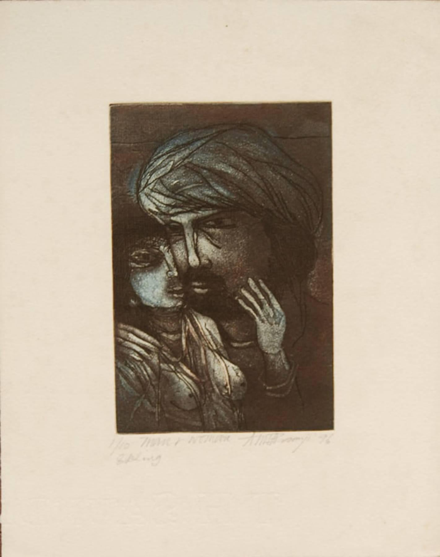 """Man & Woman, Relationship, Etching on paper, Blue, Brown, Black colors""""In Stock"""""""