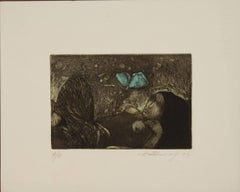 """Day Dream, Etching on paper, Blue, Green, Blackcolors by Indian Artist""""In Stock"""""""