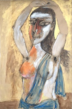 Woman in her habitat,in red,blue,gold colors by Paritosh Sen,disciple of Picasso