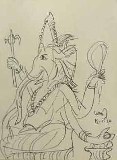 Ganesha, charcoal drawing by awardee Padma-Bhushan,Vibhushan, Modern K.G.Subrama