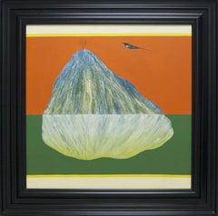 Bird Mountain Series,Oil canvas in orange,green nature by modern Master Modern