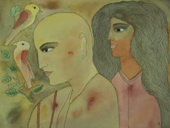 Two Birds,Indian figurativeminiature art,modern Famous artist,Awarded Padmashri