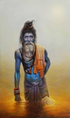 Mysticism of the blue God, look like Shiva, sadhu, ascetic, spiritual