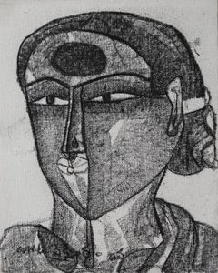 Potrait, charcoal, canvas, black and white, National Awardee Indian Artist