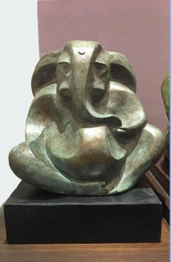 Lord Ganesha : Mythology, figurative, bronze sculpture by Modern Indian Sculptor
