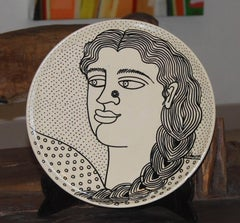 Ink, Ceramic Plate, black, white art ; gorgeous portrait of an Indian woman