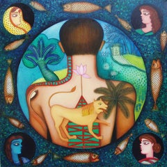 Figurative, acrylic in blue, green, brown by Indian Artist Shipra Bhattacharya