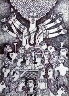 Celebrating Worship of Devi Durga, Indian goddess by Contemporary Artist