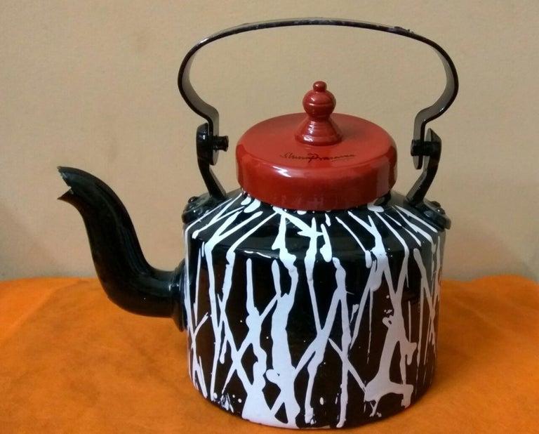 Shuvaprasanna Bhattacharya Still-Life Sculpture - Striking Indian aluminum kettle, in black, red, white; india art Shuvaprasanna