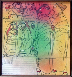 Gossiping woman, Mixed Media in green, red, yellow by student of Nandalal Bose