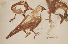Crows ,Indian diasphora, Sepia, Watercolour, Rare Collectible, Old Bengal Artist