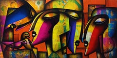 Togetherness, Couple ,Love, Passion, Happy couple on canvas, Indian Art, Acrylic