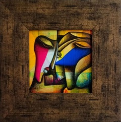 Male & female relationship,figurative,charcoal&acrylic on canvas by IndianArtist