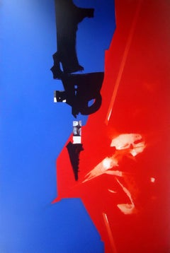 """Abstract Painting, Bright Colors Red, Blue, Black by Indian Artist """"In Stock"""""""
