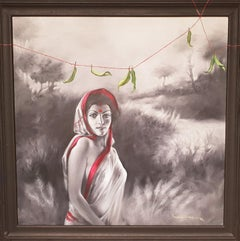 LADY 01, Indian Lady with red, white sari, figurative, acrylic by Sanatan Dinda