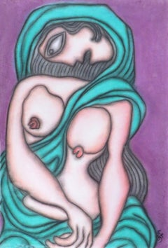 Painting in Pastel of Sensous Woman Indian Nude in Green Saree by Master Artist