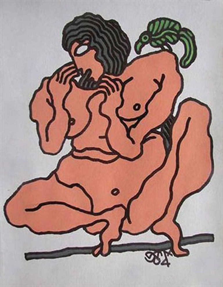 """Prokash Karmakar Figurative Painting - Nude Woman, Bird, Painting,Mixed Media, Brown, Green by Indian Artist """"In Stock"""""""