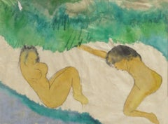 "Woman Bathing, Nude, Watercolor on Rice Paper, Green, Grey, Browncolor""In Stock"""
