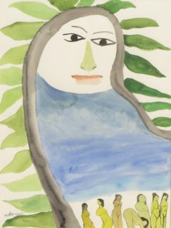 "Nude Woman, Watercolor Painting, Green & Blue by Master Indian Artist ""In Stock"""