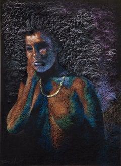 Enchanting Indian Woman, Nude Pastel drawing, Black,Purple, Indian Master Artist
