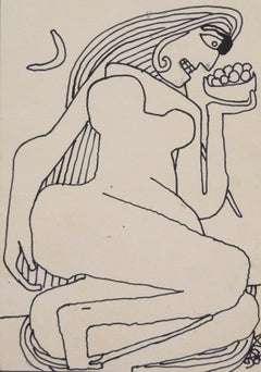 Reclining Women, Figurative, Ink on paper by Master Indian Artist