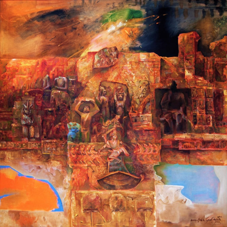 """Amitabh Sengupta Abstract Painting - Changing Rock II, Abstract, MythscapeSeries, Mythology, Indian Artist """"In Stock"""""""