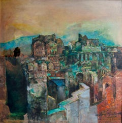 Unknown Fort, Mythscape, Series of structures, Oil painting by Indian Artist