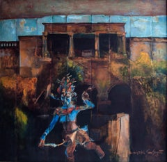 Void Dancer, Mythscape Series, Indian Art, Oil on canvas by Modern Indian Artist