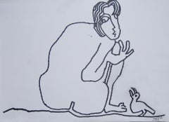 "Man sitting with a Bird, Nude, Ink on paper by Modern Indian Artist ""In Stock"""