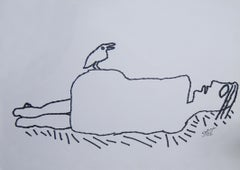 "Nude Drawing, Ink on paper by Master Indian Artist Prakash Karmakar ""In Stock"""