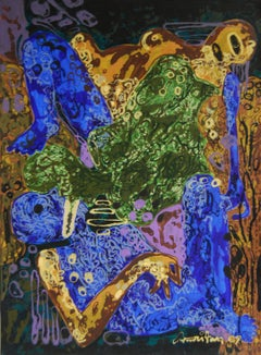 """Painting, Acrylic, Blue Green Brown Color, Indian Contemporary Artist """"In Stock"""""""