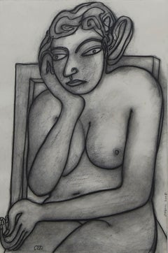 "Women seated, Nude Drawing,Pastel,Black,White by Master Indian Artist ""In Stock"""