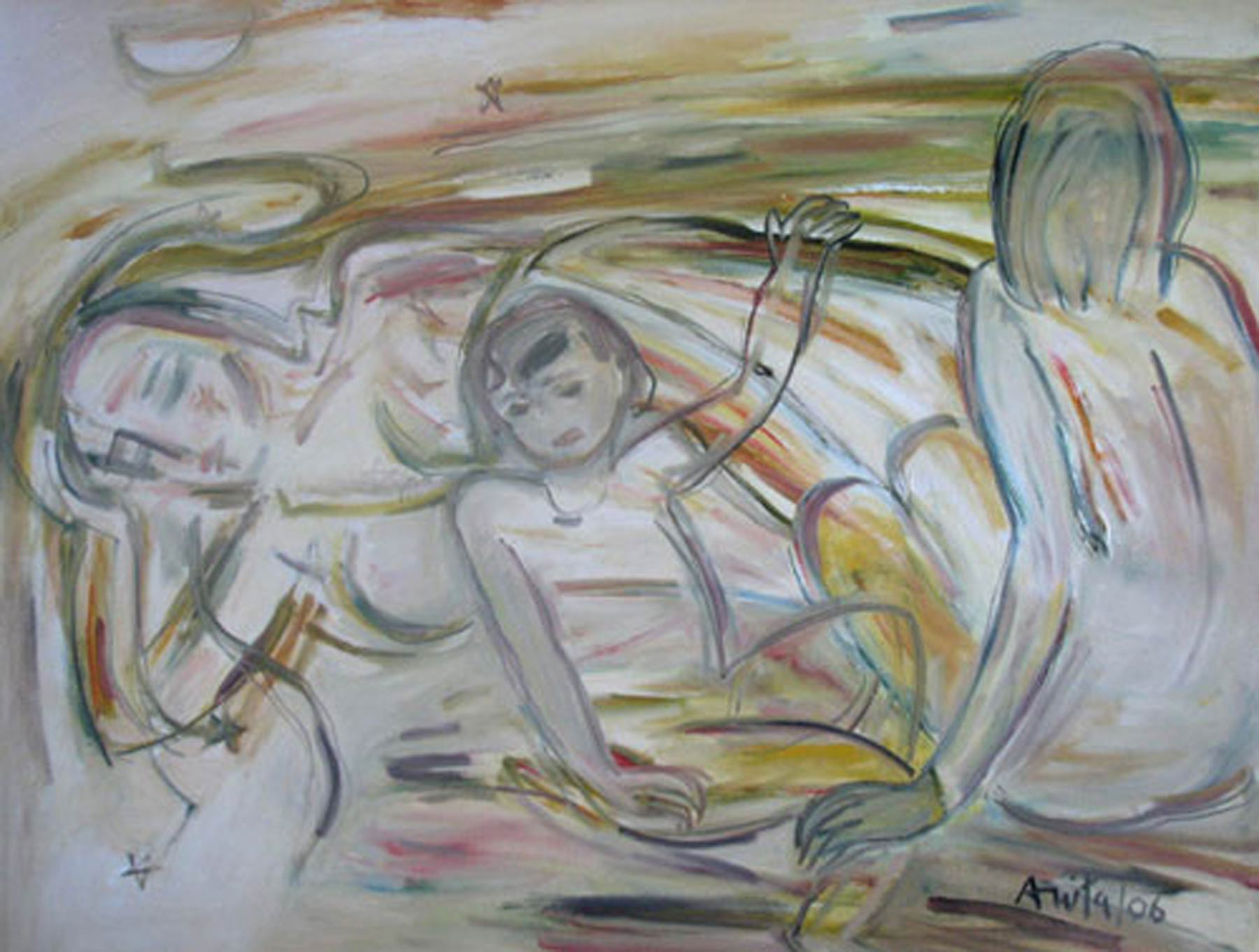 """Mother & Child, Nude Oil paint, Earth Colours by Indian Modern Artist """"In Stock"""""""
