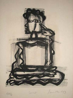 """Seated, Etching on paper, Black & White by Modern Indian Artist """"In Stock"""""""