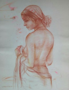 "Nude, Bengali Women, Bathing, Mixed Media on paper, Pink, Red, Brown ""In Stock"""