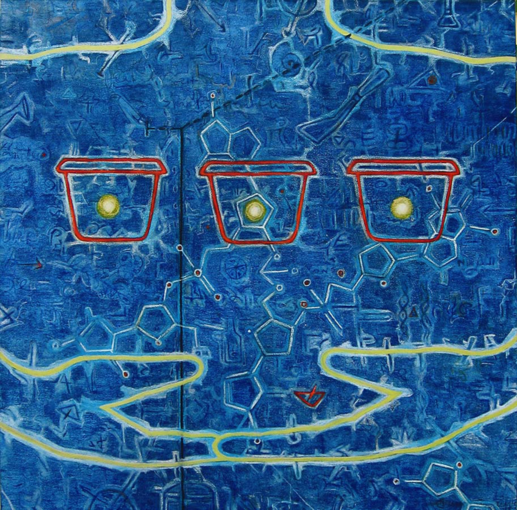 "Existence, Charcoal, Earth color, Acrylic Painting, Blue, Red, Yellow ""In Stock"""