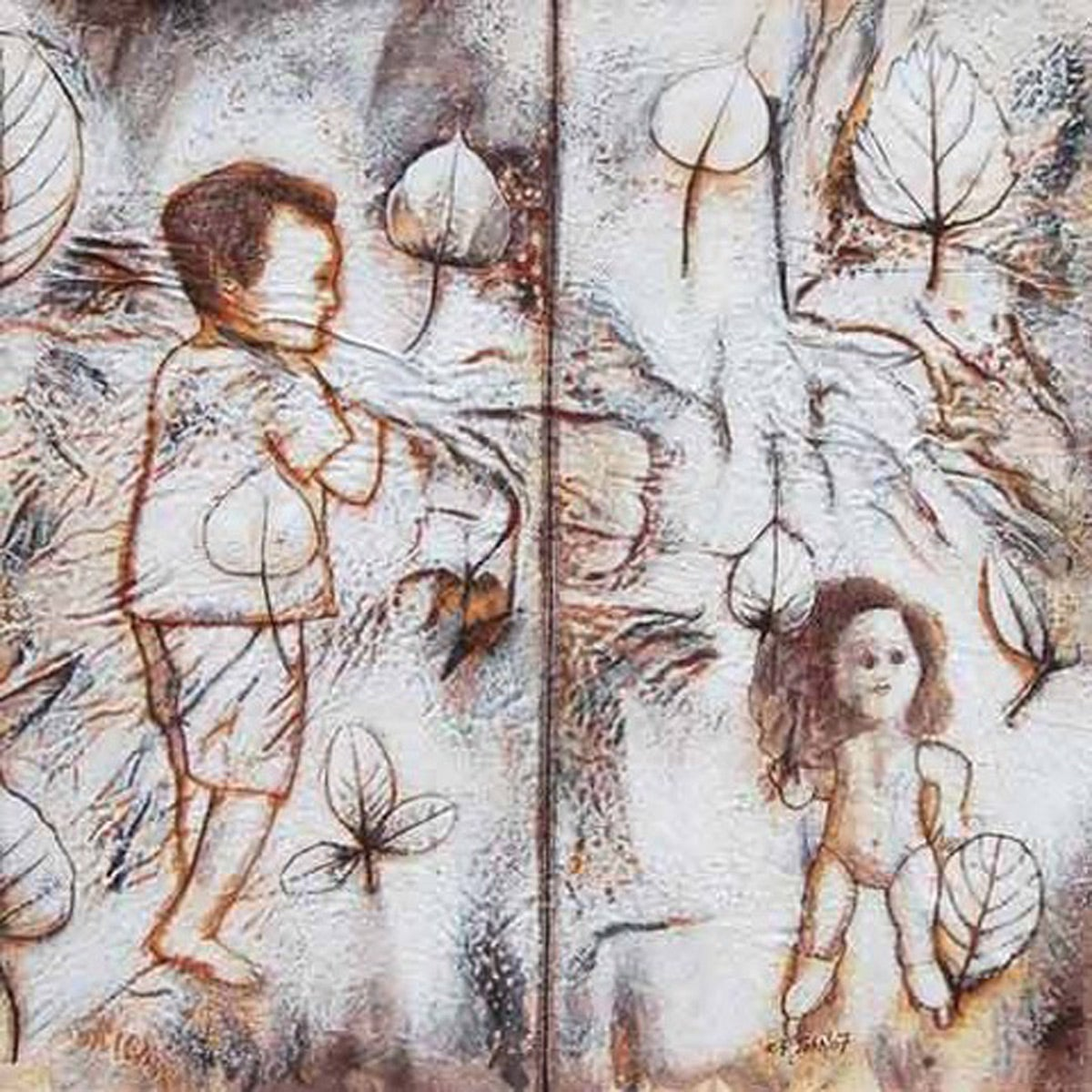 """Boy & Girl, Ciril, Acrylic, high quality cotton fiver on canvas, Brown""""In Stock"""""""