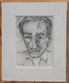"""Potrait: A Man,Chinese Ink Paper, Black-White by Padma Bhushan Artist """"In Stock"""""""