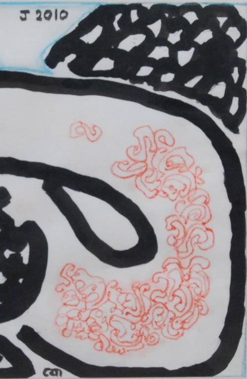 Bakasur, Mythology, Ink, Brush & Pastel Painting, Blue, Black, Pink